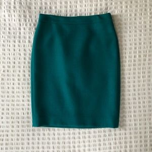 J. CREW teal No. 2 pencil skirt - 100% wool size 2
